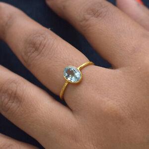 18K Yellow Gold Textured Ring Aquamarine Gemstone Valentine Gift Fine Jewelry