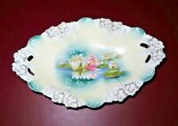 "Antique Fine R.S. Prussia Porcelain Water Lily & Gilt 13"" Long Oval Serving Bowl"