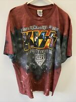 Vintage Kiss Concert T-Shirt Shirt Size XL Kiss Army Tie Die Metal Rock Band