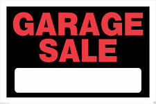"""TWO - """"GARAGE SALE"""" SIGNS 8"""" x 12"""" RED/BLACK PLASTIC SIGNS-QTY 2"""