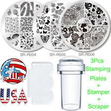 5Pcs Nail Art Image Stamping Plates Printing Stamper Scraper Butterfly Tool Kit