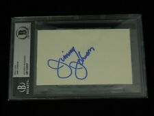 Jimmy Johnson Signed 3x5 Index Card Beckett Encapsulated NFL HOF Dallas Cowboys