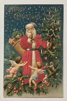 Patriotic~SILK~SANTA CLAUS~ Cherubs~Angels~Flag~Antique ~Christmas Postcard-a673
