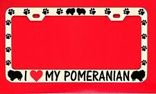 I Love My Pomeranian Chrome License Plate Frame Tag Dog Paw Weatherproof Vinyl