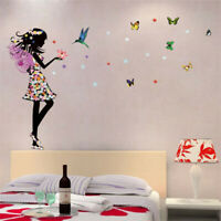 Fee Schmetterling Blumen Mädchen Wandtattoo Wandsticker Aufkleber Wandaufkleber