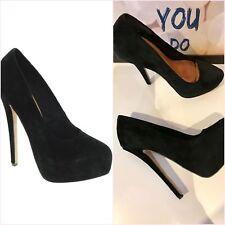 "ASOS Black Puffin Suede Platform Very High Heels 6"" Size 5 38"