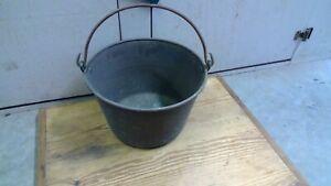 "Antique Hammered Copper Pot Bucket Pail Cauldron Forged Steel Handle 12"" diam."