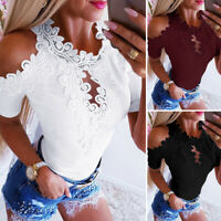 ZANZEA 8-20 Women Summer Cold Shoulder Top T Shirt Cut Out Crochet Lace Blouse