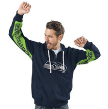 Seattle SEAHAWKS Official NFL Hands High Game Day Fleece Hoodie Jacket~ XL