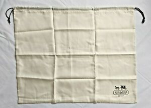 New COACH Protective Dust Bag Dustbag Cover Beige Sateen Brown Drawstring 23x19