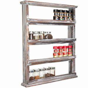 MyGift 4 Tier Rustic Torched Wood Wall Mounted Home Kitchen Spice Organizer Rack