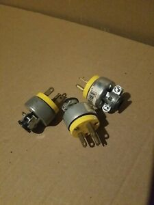 3 pcs Eagle Wiring 2866 Grounded Armored Plug 3-Wire 15A 125V Yellow