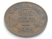1921 Canada 1 One Cent Small Copper Penny Circulated Canadian Coin I312