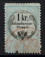 Austria 1kr advertisement rev stamp perf 12 red cancel, see notes - Lot 052117