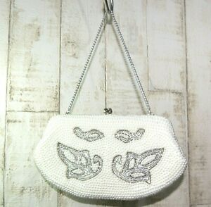VINTAGE STYLE PEARL EVENING / WEDDING CLUTCH BAG WITH CHAIN