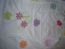 DANCING  DAISIES TAB-TOP CURTAIN PANEL PAIR WITH TIEBACKS - 84 x 63 COTTON