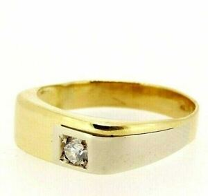 Men's Ring Vintage Years' 70 Italy Yellow Gold Solid 18K with Zircon