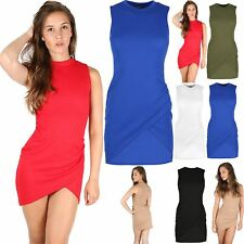 Womens Waffle Turtle Polo Neck Lady Jersey Wrap Over Ruched Bodycon Mini Dress