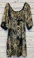 Hale Bob Size M Silk Gold Black Floral Boho Style Kimono Style Mini Dress