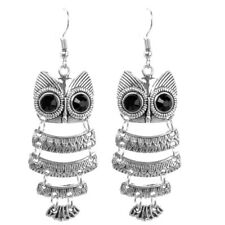 Hot Boho Retro Vintage Tibetan Silver Enamel Owl Pendant Dangle Earrings Hook
