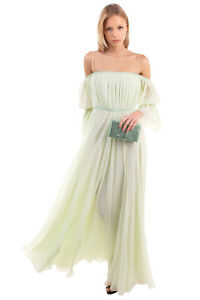 RRP €2730 GIAMBATTISTA VALLI Silk Flare Evening Dress Size 40 / XS Tulle Insert