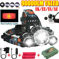 90000LM T6 LED Headlamp Headlight Flashlight Head Torch 18650 Sets Rechargeable