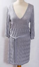 Grey and silver stripe knit V neck long jumper tunic dress belted 3/4 sleeves M