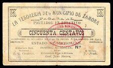 Michoacan, Tesoreria del Municipio de Zamora 50 cts. 1915. M2947 / SI-MIC-35 VF