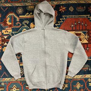 russell athletic vtg 80s tri-blend full zip heather gray hoodie sweatshirt sz L
