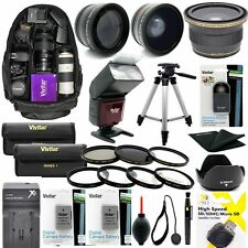 Nikon D3100 DSLR CAMERA FULL 52MM HD ACCESSORY KIT LENSES FLASH BACKPACK TRIPOD