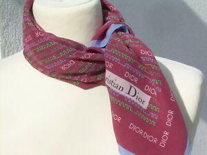 """Authentique ancien foulard carré de soie vintage """"CHRISTIAN DIOR"""" silk scarf"""