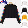 AU Womens Long Sleeve Rainbow Patchwork O Neck Sweatshirt Casual Blouse Pullover