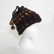 Cálido a mano punto invierno suave de lana CUATRO TANGA Gorro con Pompón Unisex
