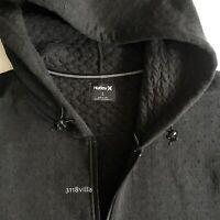 Hurley Therma Hollowknit Men's Black Fleece Full Zip Hoodie Jacket size Medium