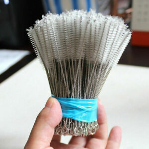 100Pcs Nylon Stainless Steel Cleaner Cleaning Brush for Tobacco Pipe Airbrush