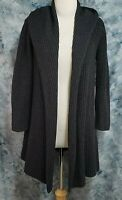 Eileen Fisher Womens PS Gray Wool Nylon Chunky Ribbed Hooded Duster Sweater