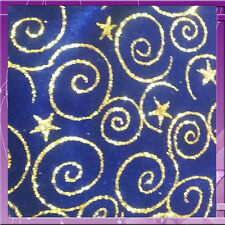 STRETCH VELVET SWIRL GOLD GLITTER 58 INCHES WIDE FABRIC SOLD BTY ROYAL BLUE