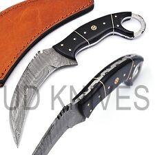 UD HANDMADE 1095 FIXED BLADE DAMASCUS ART FULL TANG KARAMBIT KNIFE QM- 8401
