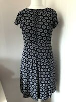 White Stuff Navy Blue Floaty Tea Dress White & Green Spots Size 10 Short Sleeves
