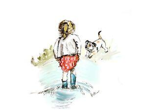 Print of Original ink & watercolour painting Little girl & dog wall art