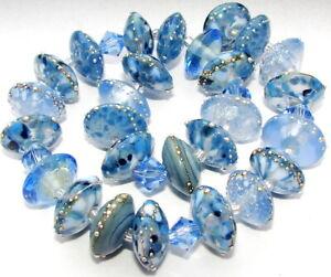 """Sistersbeads """"F""""-Denim"""" Handmade Lampwork Beads"""