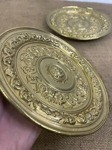 Pair Heavy Antique Ornate Brass Dishes Alms Lion Heads Mythical Plates