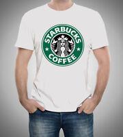 Starbucks Coffee Graphic Logo Men T-Shirt White Fan Tee Shirt Size S M L XL XXL