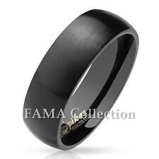 FAMA 6mm Stainless Steel Black Matte Finish Classic Dome Band Ring Size 5-13