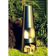 Made O' Metal Garden Chimney Fire Patio Heater Stainless Steel 140cm Chimenea