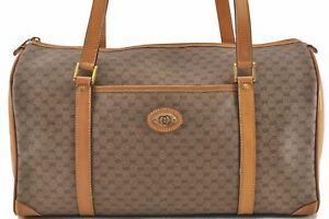 Authentic GUCCI Micro GG PVC Leather Shoulder Boston Bag Brown E0409