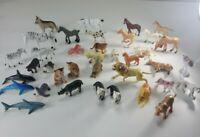 Vintage Plastic Toy Animals Jungle Zoo Ocean Cat Horse Lot Figures Pretend Play
