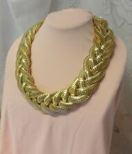 Haute Couture Runway Fashion Chunky Braid Gold Tone Chain Bib Necklace