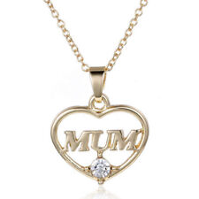 Mum Crystal Rhinestone Heart Gold Family Gift Mother Mom Women Pendant Necklace