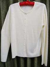 """Off White NEW Ivory Cardigan L Large Bust 40"""" LS Sweater Pearl But. Acrylic NWOT"""